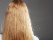 Closeup of woman with static blonde hair. Stock Image