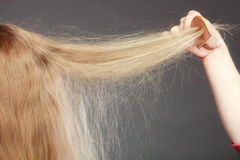 Closeup of woman with static blonde hair. Royalty Free Stock Photo