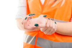 Closeup of woman suffering from pain in wrist Royalty Free Stock Photos