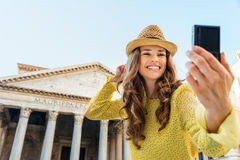 Closeup of woman taking selfie at Pantheon cheering Stock Photo