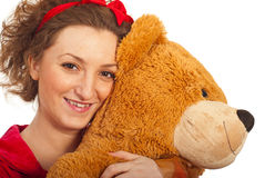 Closeup of woman with teddy bear Stock Image