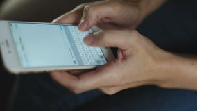 Closeup of woman Texting on a touchscreen stock footage