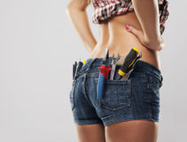 Closeup of woman with tools Royalty Free Stock Images
