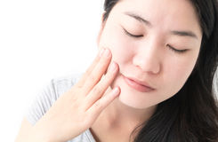 Closeup woman toothache with white background, health care and m stock image