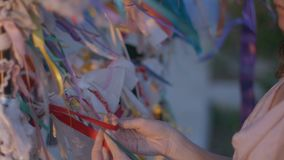 Closeup of woman tying a ribbon to the wishing tree. Traditions, symbol of luck. Stock footage stock video footage