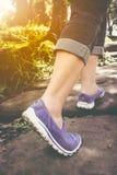 Closeup of  woman walking exercise, health concept, outdoors. Vi Stock Photo