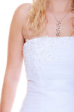 Closeup woman white long wedding dress Royalty Free Stock Photography