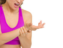 Closeup on woman with wrist pain Royalty Free Stock Photography