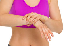 Closeup on woman with wrist pain Stock Images