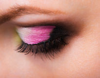 Closeup of womanish eye with glamorous makeup Royalty Free Stock Images