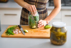 Closeup of womans hands preparing cucumbers for dill pickles Stock Photography