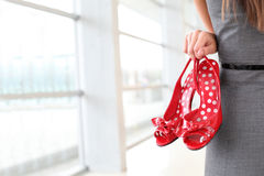 Closeup of women's red high heels Royalty Free Stock Photography
