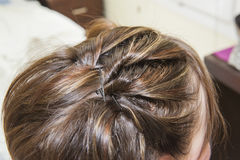 Closeup of womens hair style Stock Photography