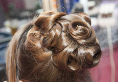 Closeup of womens hair styling Royalty Free Stock Images