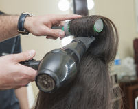 Closeup of womens hair styling Stock Photo