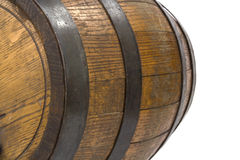 Closeup of wood barrel with steel rings on white Stock Photography