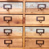 Closeup wood chest of drawers vintage look Royalty Free Stock Photos