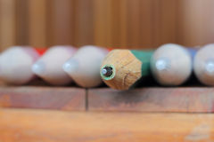 Closeup wood pencils on wooden table Royalty Free Stock Image