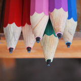 Closeup wood pencils on wooden table Royalty Free Stock Photography