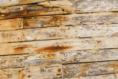 Closeup of Wood Planks on Derelict Wooden Fishing Boat Wreck Royalty Free Stock Image