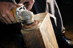 Closeup of wood sanding Royalty Free Stock Images
