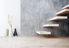 Closeup of wood stair and vase ceramic. 3d rendering Royalty Free Stock Photography