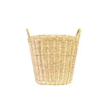 Closeup wood weave basket for used clothes in house isolated on white background Royalty Free Stock Images