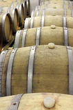 Closeup of  wooden barrels for maturing and storing wine 3 Royalty Free Stock Photography