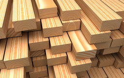 Closeup wooden boards. Illustration about construction materials. Construction materials. Closeup different beautiful wooden boards and plank. Industrial 3d Stock Photography
