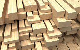 Closeup wooden boards. Illustration about construction materials. Construction materials. Closeup different beautiful wooden boards and plank. Industrial 3d Stock Photo