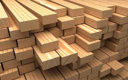Closeup wooden boards. Illustration about construction materials. Construction materials. Closeup wooden boards. Industrial 3d Illustration Royalty Free Stock Photography