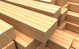 Closeup wooden boards. Illustration about construction materials. Construction materials. Closeup wooden boards. Industrial 3d illustration Royalty Free Stock Image
