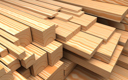 Closeup wooden boards. Illustration about construction materials. Closeup wooden boards at warehouse. Industrial 3d Illustration about construction materials Stock Images