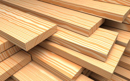 Closeup wooden boards. Illustration about construction materials. Closeup wooden boards at warehouse. Industrial 3d Illustration about construction materials Stock Image