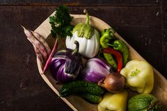 Closeup of  wooden bowl with fresh vegetables Stock Images