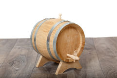 Closeup of a wooden cask of wine Royalty Free Stock Photo