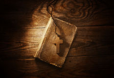 Closeup of wooden Christian cross Royalty Free Stock Images