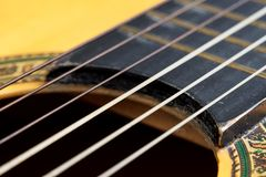 Old acoustic guitar. Closeup wooden classical guitar. Old classical guitar with nylon strings. Old acoustic guitar stock photo