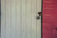 Closeup of wooden door closed Stock Photos