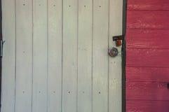 Closeup of wooden door closed Stock Photos