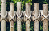 Closeup of a wooden fence Stock Photo