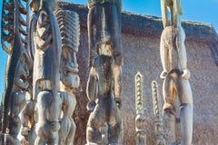 Closeup of wooden Hawaiian idols Royalty Free Stock Photos