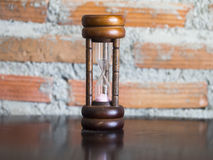 Closeup wooden hourglass Royalty Free Stock Image