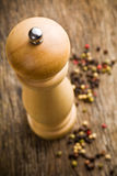 Closeup of wooden pepper mill Stock Photo