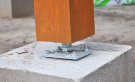 Closeup of wooden pillar on the construction site with screw. Royalty Free Stock Photo