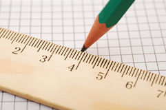 Closeup wooden ruler and pencil Stock Photography