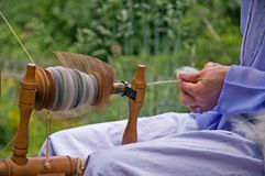 Closeup of Wool Being Hand Spun. This is a closeup of a spinning wheel in motion of hand spun yarn made from alpaca wool Stock Photos