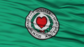 Closeup of Worcester City Flag. Waving in the Wind, Massachusetts State, United States of America vector illustration