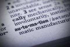 Closeup of the word `Automation` in a dictionary stock photos
