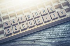 Closeup Of The Words Network Security Formed By Wooden Blocks In A Type Case. A Closeup Of The Words Network Security Formed By Wooden Blocks In A Type Case stock photo